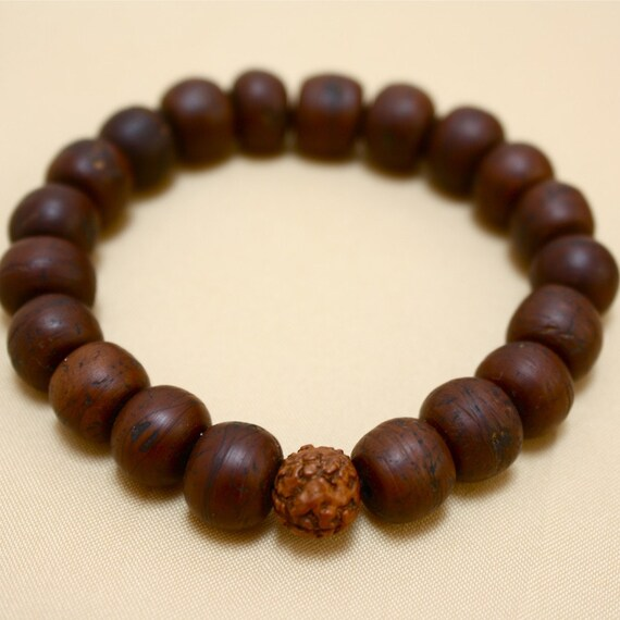 Bodhiseed Wrist Mala Bracelet w Rudraksha Seed Buddhist Prayer Beads - Small Sized Wrist Mala - Ready to Ship