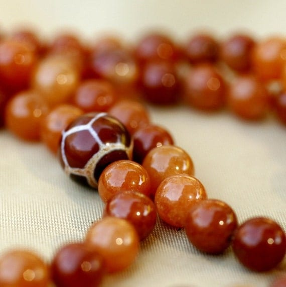 Red Aventurine Mala with Turquoise, Tibetan Agate, and Carnelian-Determination