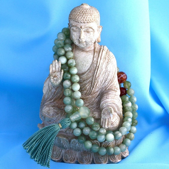 Serpentine Mala Necklace with Carnelian and Tibetan Agate - Courage and Transformation Mala