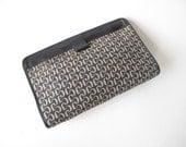 70s monogram clutch / vintage Charles Jourdan jacquard and leather handbag