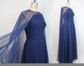 50s vintage SHEER ILLUSION chiffon cape gown / XS