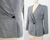 70s Hanae Mori wool blazer / vintage origami wool jacket / striped suit jacket / m