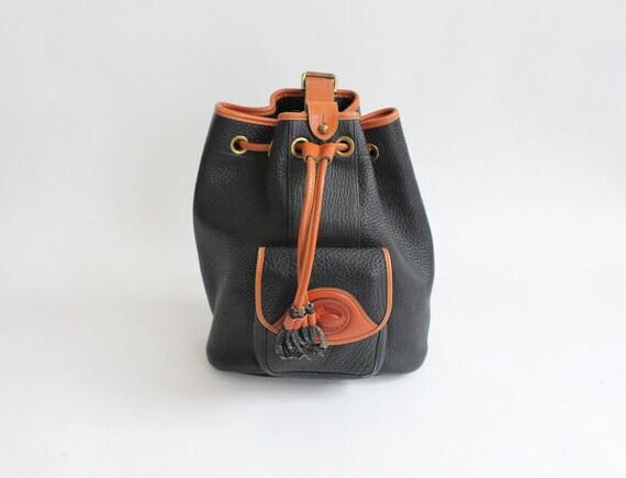 80s vintage Dooney and Bourke leather backpack // vintage Dooney and Bourke large leather drawstring sack