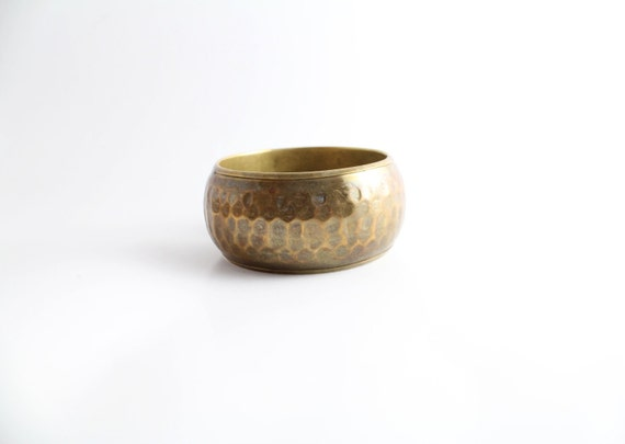 Vintage Tribal Hammered Brass Wide Bangle Bracelet