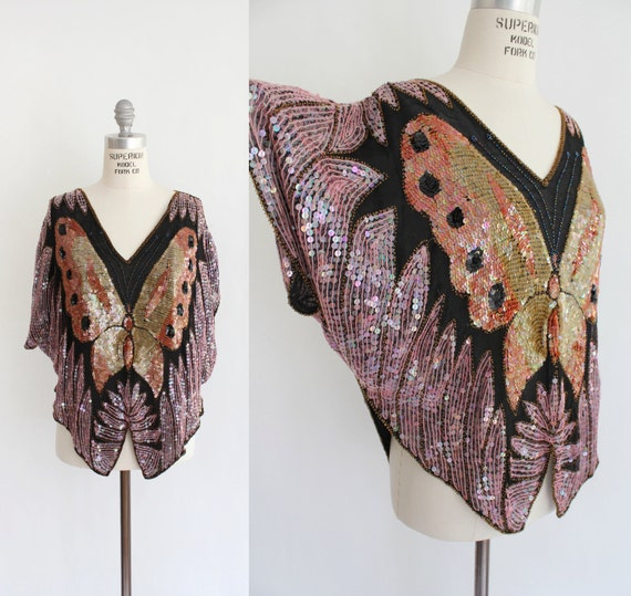 70s SILK and SEQUIN Beaded Butterfly Blouse (os)