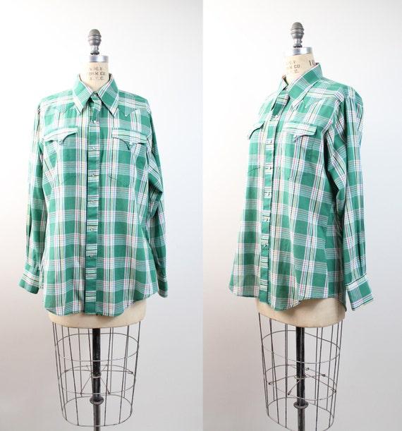 70s vintage plaid shirt / men's western cowboy shirt / plaid rockabilly shirt / M-L
