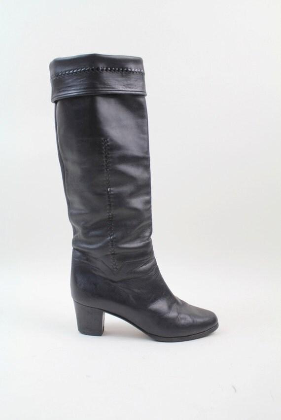 sz 6 vintage BALLY black leather knee high boots / 36.5