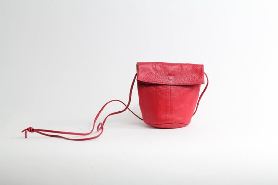 70s vintage Fiocchi purse / Italian leather mini pouch / lipstick red leather bag