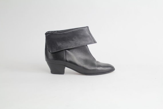 sz 7 - 7.5 vintage CHARLES JOURAN shoes / vintage black leather ankle boots / cinch or cuff / 37.5 - 38 eu
