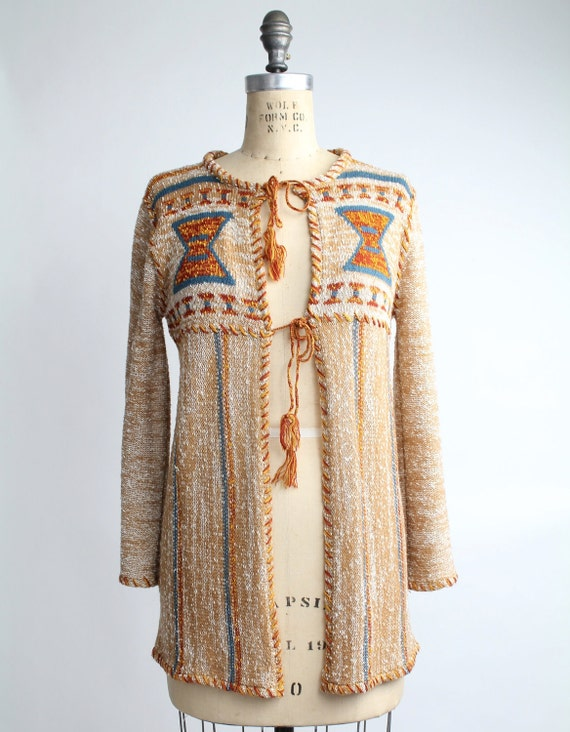vintage 1970s MARLED Knit Southwestern Cardigan S-M