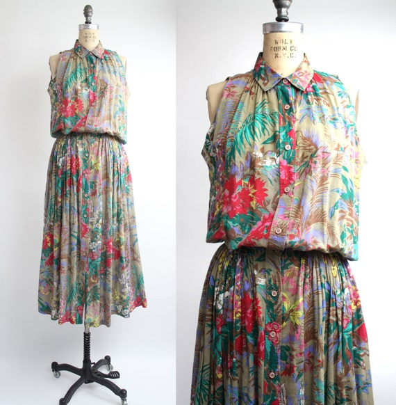 SALE . . . 80s cotton dress / vintage floral cotton sleeveless dress / midi skirt / m