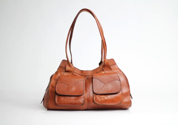 R E S E R V E D for Irene ............70s vintage handbag / vintage cognac leather purse / Made in England