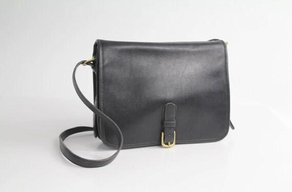 70s vintage COACH black leather messenger bag