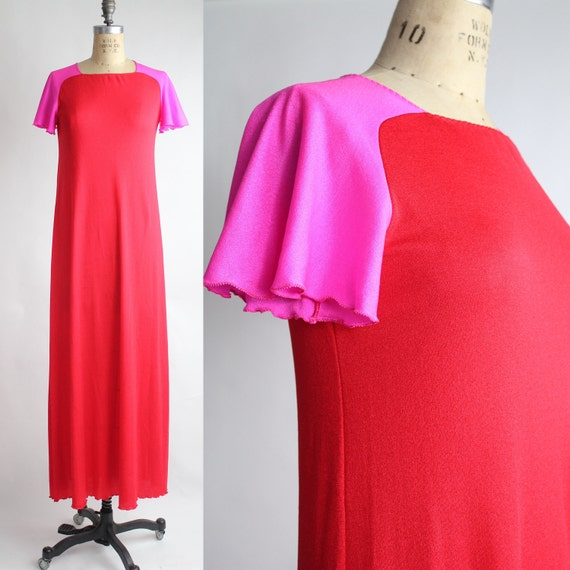 70s vintage STEPHEN BURROWS colorblock maxi dress // vintage red & hot pink loungewear / XS - S