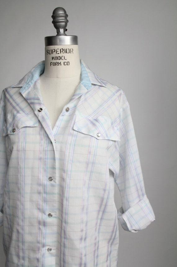 80s vintage pastel plaid western shirt // vintage 1980s cowgirl button down shirt / M - L
