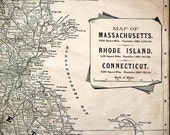 Antique Map of Massachusetts, Rhode Island and Connecticut circa 1894
