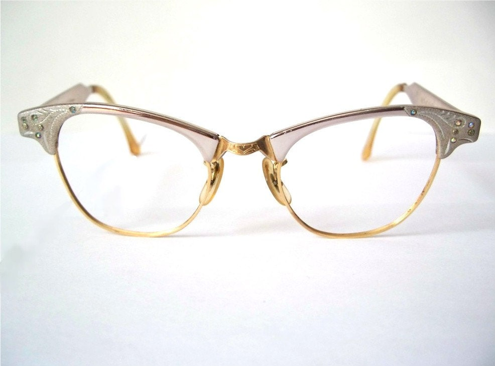 Eyeglasses Frames With Bling : Rhinestone Cat Eyeglass Frames Gold Filled and by ...