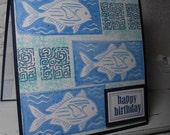Blue and Turquoise  Fishes 5x5 Happy Birthday Card Handmade