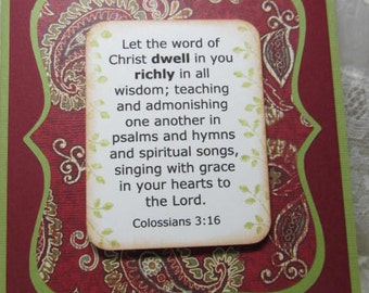 Scripture Handmade Card Colossians 3  16