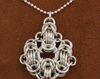 Jewelry Necklace Sterling Silver Rondo a la Byzantine Pendant