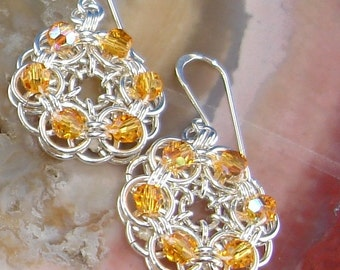 Jewelry Earrings Chain Maille Parallel Weave Earrings with Swarvoski Topaz Crystals