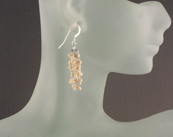 Cream Pearl Chainmaille Earrings Shaggy Loops in Sterling Silver