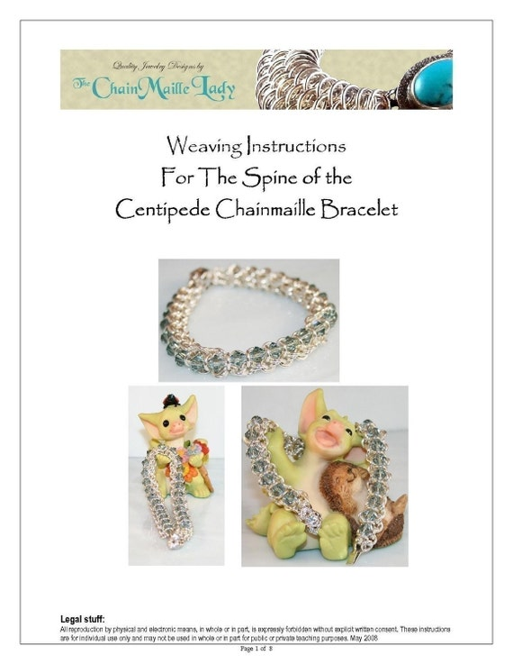 PDF Instructions Spine Of The Centipede Chainmaille Bracelet