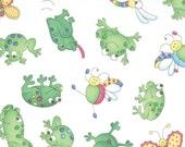 Save 50% - Moda Fabric, Girly Girls by Cheri Strole, 1 Yard Cut in 10783 12 Frogs Friends in White