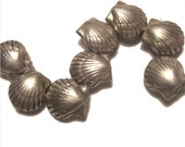SALE Karen Hill Tribe Silver Shells 1/2 inch X 1/2 inch  (2 Beads)