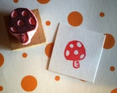 Mushroom rubber stamp - Polka dots -  Hand carved rubber stamp
