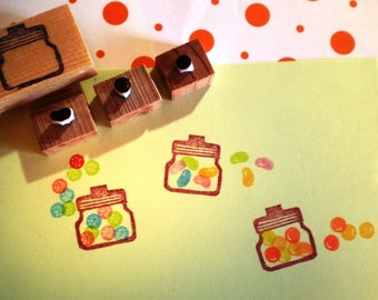 Sweets rubber stamp set -- hand carved and hand crafted