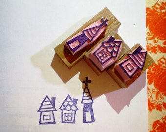 Three little houses -  hand carved rubber stamp set