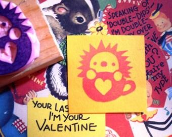 Valentine Hedgehog - hand carved rubber stamp