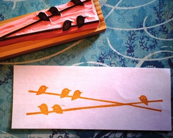 birds sitting in the sun -- hand carved rubber stamp