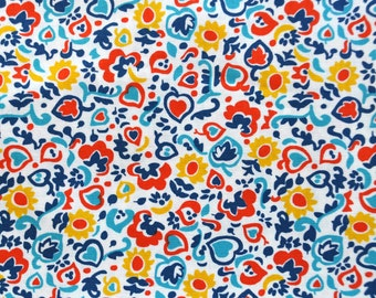 "Denyse Schmidt Winding Roads Abstract Blue Red Floral Print - 24"" Piece"