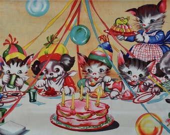 Michael Miller Ruthe's Party Panel - Kittens, Retro, Party, Puppies