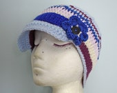 Blue and Purple Flower Band Beanie - Adult, Other Sizes Available