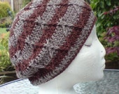 HUGE SALE - Natural Tones Crochet Cabled Slouchy Beanie