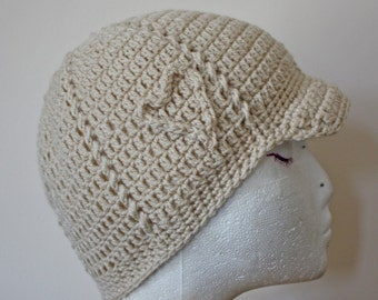 PATTERN - Hearts and Cables Brimmed Beanie - Free International Shipping