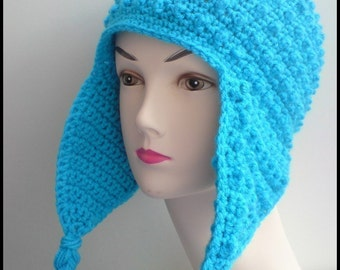 PATTERN - Crochet Hori Bobbles Earflap Hat - Free International Shipping