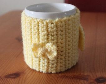 HUGE SALE - Yellow Mug Cozy With Bow