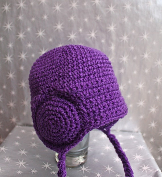 HUGE SALE - Purple Leia Earmuffs Beanie - Baby - 6 to 12 months, Other Sizes Available