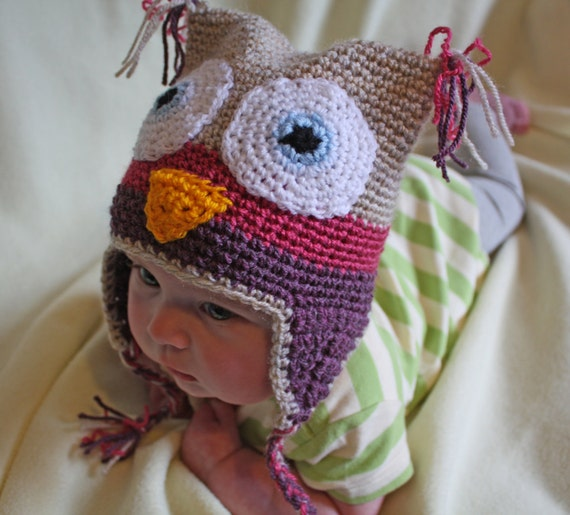 Pink & Purple Owl Beanie - 3-6 months, Other Sizes Available- Free International Shipping