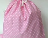 Large Wet Bag in Candy PInk and White Polka Dots