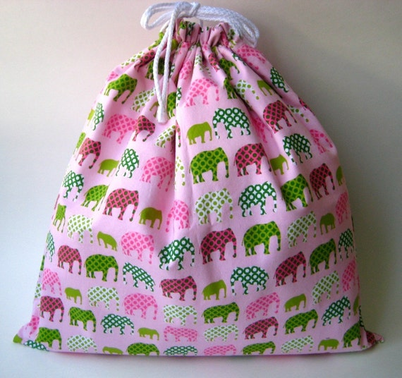 Large Wet Bag in Pink Green Elephant Pachyderm Parade