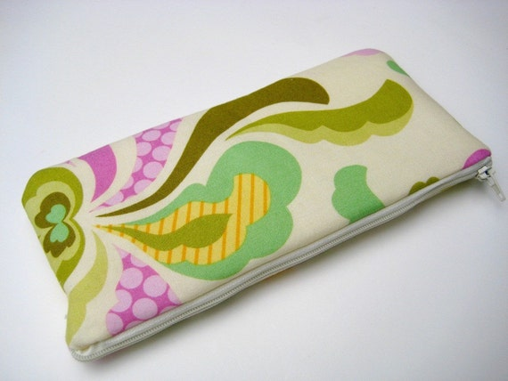 Flat Pencil Case Makeup Bag in Lilac Green Spring Groovy