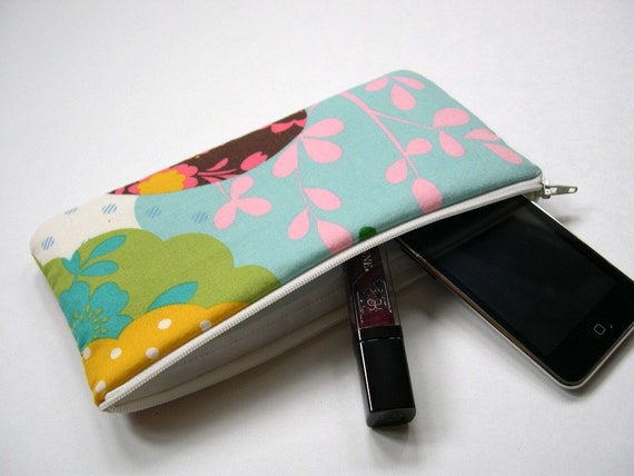 Pencil Case Makeup Bag Slim in Turquoise Birds of a Feather