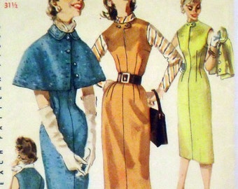 Simplicity 1676 double vented wiggle sheath dress or jumper and cape pattern / Jr Sz 11 / B 31.5 / 1956