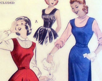 Butterick 6065 Vintage fitted jumper dress pattern with pencil or flared skirt / Sz 12 / B 30 / 1950s