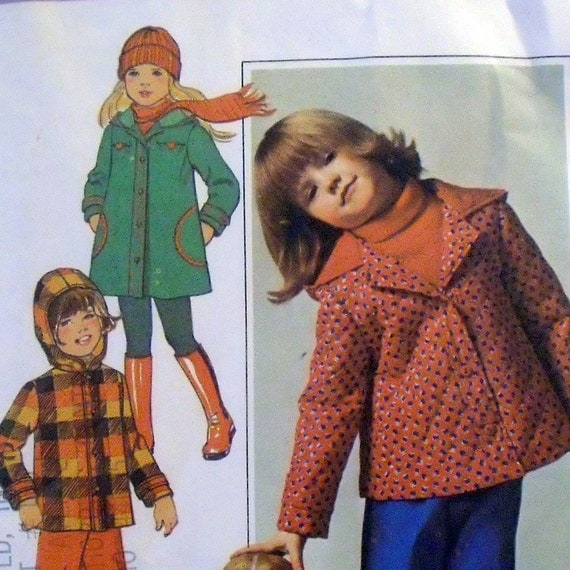 Simplicity 7688 uncut vintage child's jacket or coat and pull-on pants pattern  / sz 6 / 1976